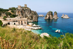 Faraglioni and Tonnara at Scopello on Sicily Stock Photography