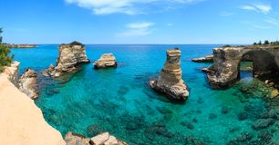 Faraglioni at Torre Sant Andrea, Italy Royalty Free Stock Images