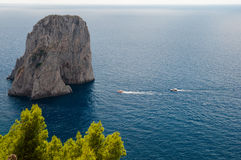 Faraglioni and Tyrrhenian sea at Capri Stock Images