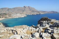 Faraklou castle ruins in Rhodes island Stock Photo