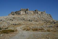 Faraklou kasztel w Rhodes wyspie Fotografia Royalty Free