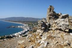 Faraklou kasztel w Rhodes wyspie Obrazy Royalty Free