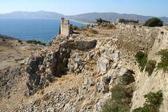 Faraklou kasztel w Rhodes wyspie Obraz Royalty Free