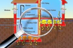 Faran av radongas i våra hem - begreppsillustration stock illustrationer