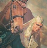 Farao met gestemde paardwijnoogst Stock Fotografie