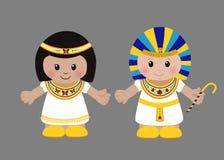 Farao och Cleopatra i forntida egyptiska kläder royaltyfri illustrationer