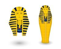 Faraodoodskist en masker op wit, vector stock illustratie
