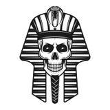 Faraoskalle, egyptisk forntida retro illustration Stock Illustrationer