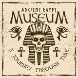 Faraoskalle, forntida Egypten kulört emblem Stock Illustrationer