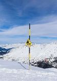 faratecken Skidar semesterorten Val Thorens Arkivbilder