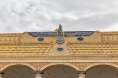 Faravahar auf dem Zoroastriantempel in Yazd Stockfoto