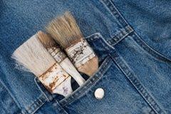 farb muśnięcia w cajg kieszeni zdjęcie stock