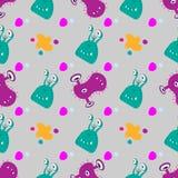Farb pluśnięcia, stubarwni Śmieszni kreskówka potwory obcy i bakteria bezszwowy wzór ilustracji
