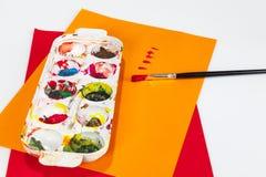 Farb pudełka z muśnięciami Zdjęcie Royalty Free