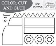 Farb-, Schnitt- und Kleberbild des Notausgangautos Lernspiel für Kinder vektor abbildung