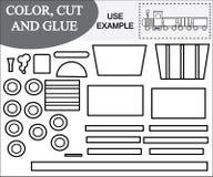 Farb-, Schnitt- und Kleberbild des Zugs Lernspiel für Kinder vektor abbildung