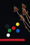 Farb wiadra Farba w bankach, na czarnym tle Przygotowanie dla malować jesień liście na czarnym tle Viburnum gałąź Obraz Stock