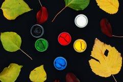 Farb wiadra Farba w bankach, na czarnym tle Przygotowanie dla malować jesień liście na czarnym tle Viburnum gałąź Zdjęcie Royalty Free
