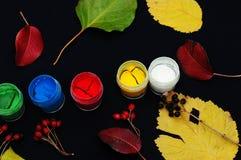 Farb wiadra Farba w bankach, na czarnym tle Przygotowanie dla malować jesień liście na czarnym tle Viburnum gałąź Zdjęcia Stock