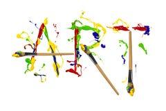 Farba i painbrushes malująca słowo sztuka Obrazy Royalty Free