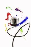 Farby latanie wokoło komputerowej myszy ilustracja wektor