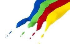 Farba pokrywająca na papierze. Rewolucjonistka, zieleń, błękit i kolorów żółtych kolory. Fotografia Stock