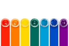 Farba w szklanych słojach Zdjęcie Stock