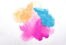 Farbaquarellfarbe auf weißem Hintergrund Stockfotos