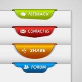 Farbaufkleber oder Bookmark am Rand der Webseite Lizenzfreie Stockbilder