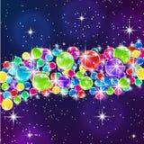 Farbballone auf sternenklare Nachthintergrund Stockfotos