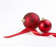 Farbband- und Weihnachtsluftblasen Lizenzfreie Stockfotos