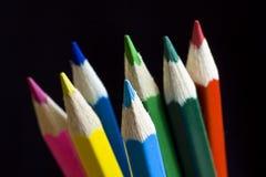 Farbbleistift. Bleistifte mit Weg. Stockfotos