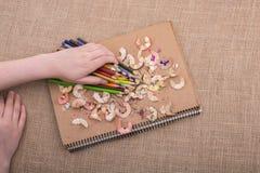 Farbbleistifte über einem Notizbuch Stockbild