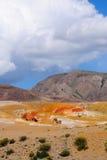 Farbboden von Quecksilberablagerungen in Altai Stockfotografie