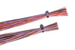 Farbcomputerkabel mit Kabelbindern Stockfotos