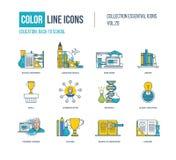 Farbdünne Linie Ikonen eingestellt Schulausrüstung, Sprache Stockbilder