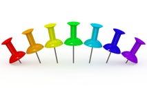 Farbe 3d Thumbtack Stockbild