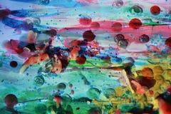 Farbe, Aquarell und wächserne Formen, abstrakter Hintergrund Lizenzfreie Stockfotos