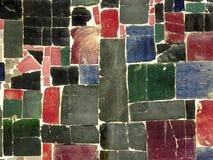 Farbe deckt Mosaik - gelegentliches Muster mit Ziegeln Stockfotografie