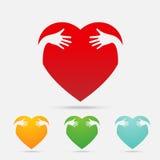 Farbe der Herz-Umarmung vier auf weißem Hintergrund Stockbild