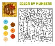 Farbe durch Zahl, Ausbildungsspiel, Kuchen lizenzfreie abbildung