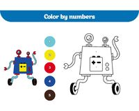 Farbe durch Zahl, Bildungsspiel für Kinder Farbtonseite, Zeichnung scherzt Tätigkeit roboter Lizenzfreie Stockfotos