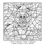 Farbe durch Zahl, Bildungsspiel mit Bären Lizenzfreies Stockfoto