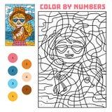 Farbe durch Zahl für Kinder, Mädchen in der Sonnenbrille stock abbildung