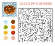 Farbe durch Zahl, Spiel für Kinder, Donut stock abbildung