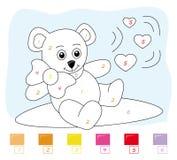 Farbe durch Zahlspiel: Teddybär Lizenzfreie Stockfotos