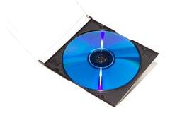 Farbe DVD und CD mit Kasten Stockbild