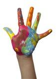 Farbe gemalte Kindhand Lizenzfreies Stockbild