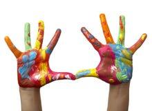 Farbe gemalte Kindhand Lizenzfreie Stockfotografie