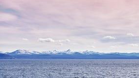 Farbe tonte panoramisches Bild des Yellowstone Sees, USA Stockbild
